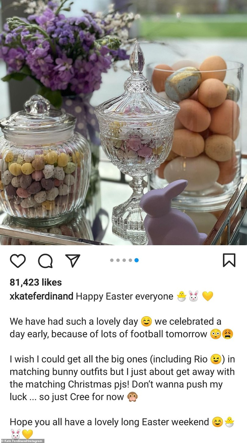 Early celebrations: Captioning the snaps, she wrote, 'Happy Easter everyone... We have had such a lovely day ☺️ we celebrated a day early, because of lots of football tomorrow'