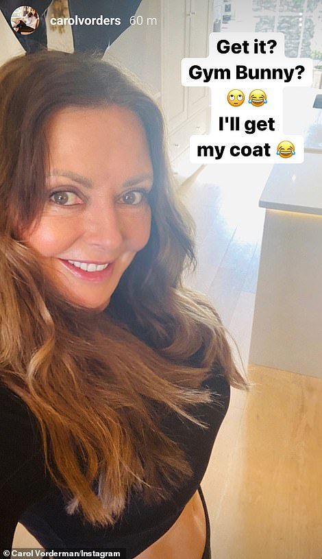 Catching the eye: The former Countdown star, 60, wowed in the selfies, which she captioned, 'Happy Easter... from the gym bunny'
