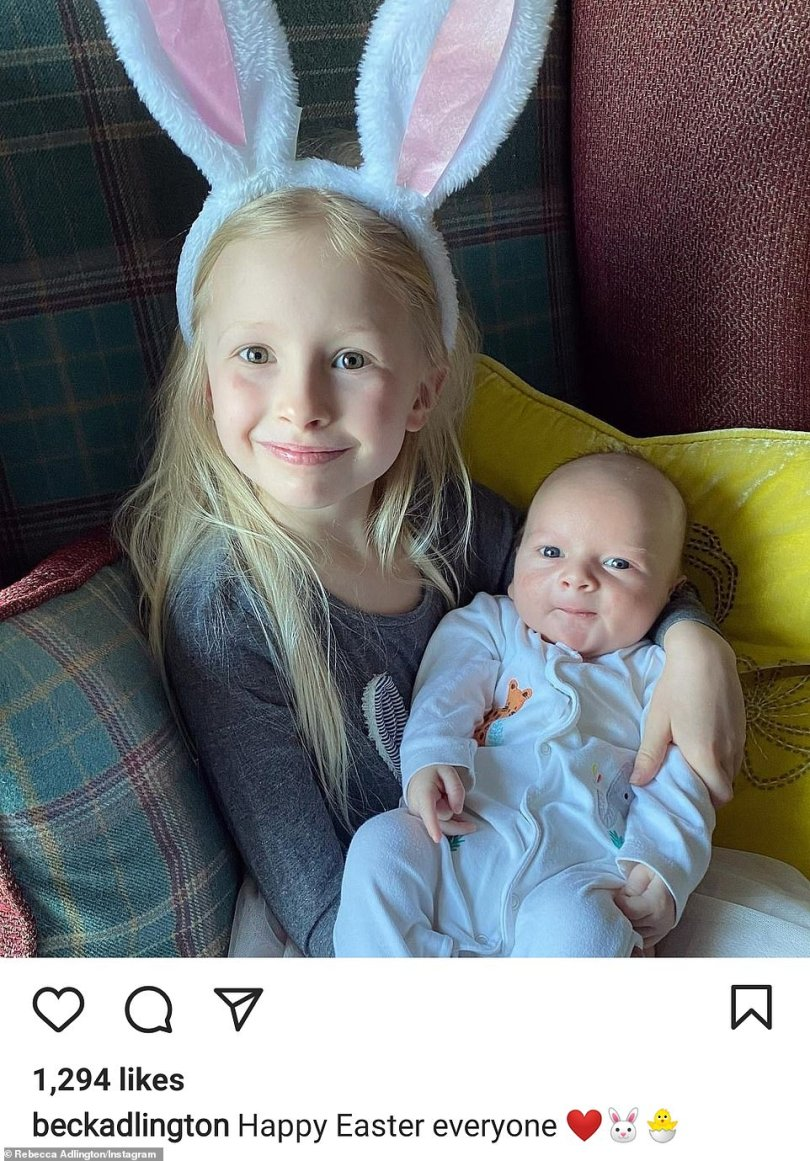 Offspring: Olympic swimmer Rebecca Adlington also got in on the celebratory action, when she shared a snapshot of her daughter Summer, five, with newborn son Albie