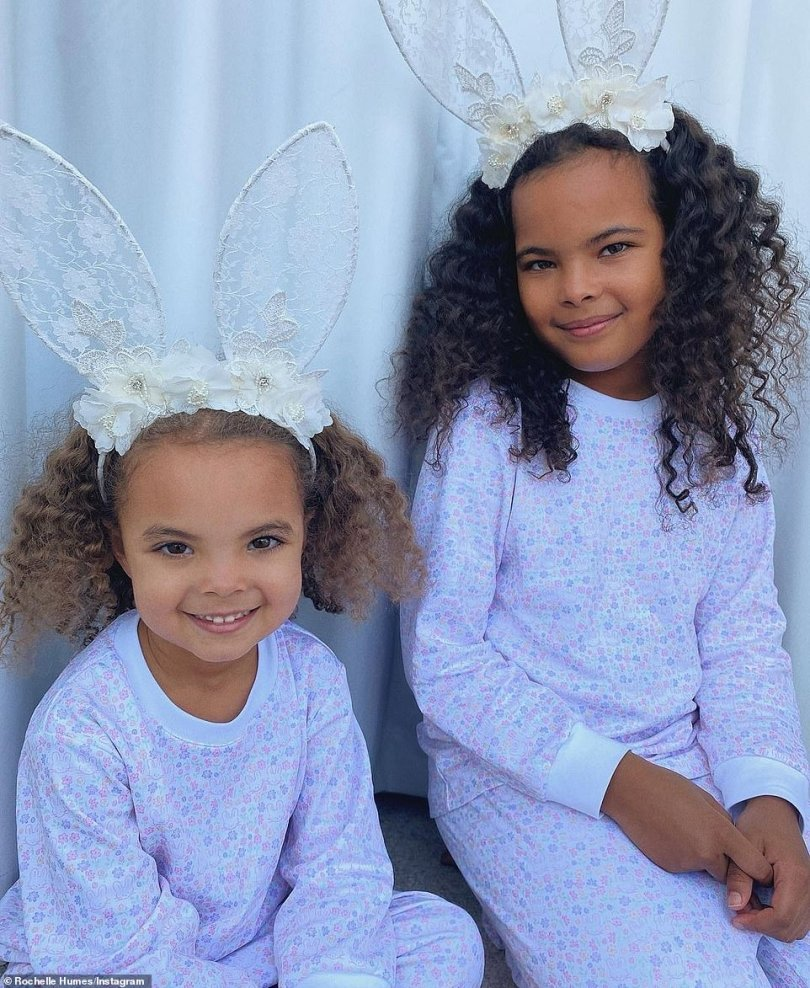 So sweet: Rochelle Humes posted photos of her daughters Alaia-Mai, seven, and Valentina Raine, four, celebrating the day