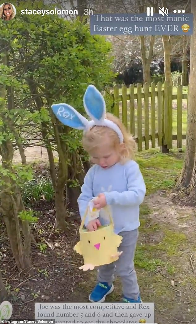 'That was the most manic East egg hunt ever': Stacey's sons ran around the garden with baskets in bunny ears gathering up the eggs their mum hid