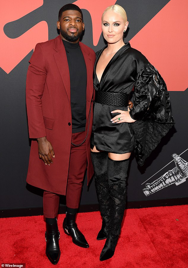 Former flame: In December of last year, Vonn broke off her engagement from P.K Subban, whom she had been romantically involved with since June of 2018. The pair are pictured at the2019 MTV Video Music Awards