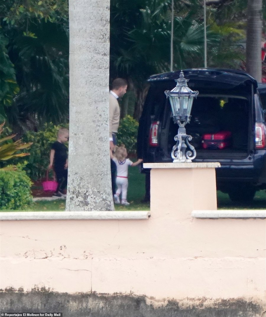 Eric Jr and his sister Carolina also changed their clothes before leaving Mar-a-Lago with their parents