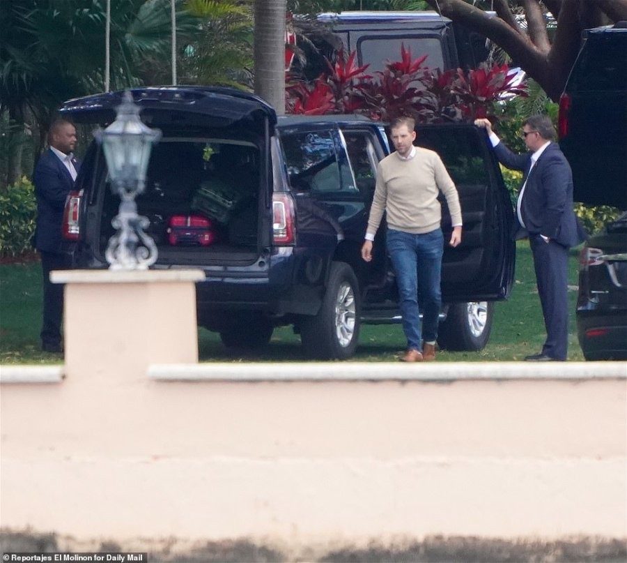 Eric Trump is seen walking from a vehicle parked at Mar-a-Lago on Sunday