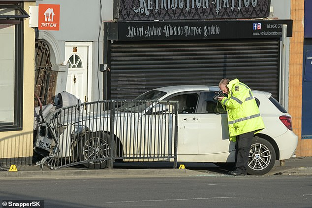 A BMW is understood to have been involved in a collision in High Street with another car, before striking his pram at around 4pm