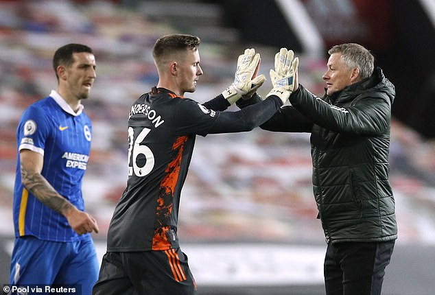 Ole Gunnar Solskjaer (right) said both Henderson and de Gea will play in the rest of the season