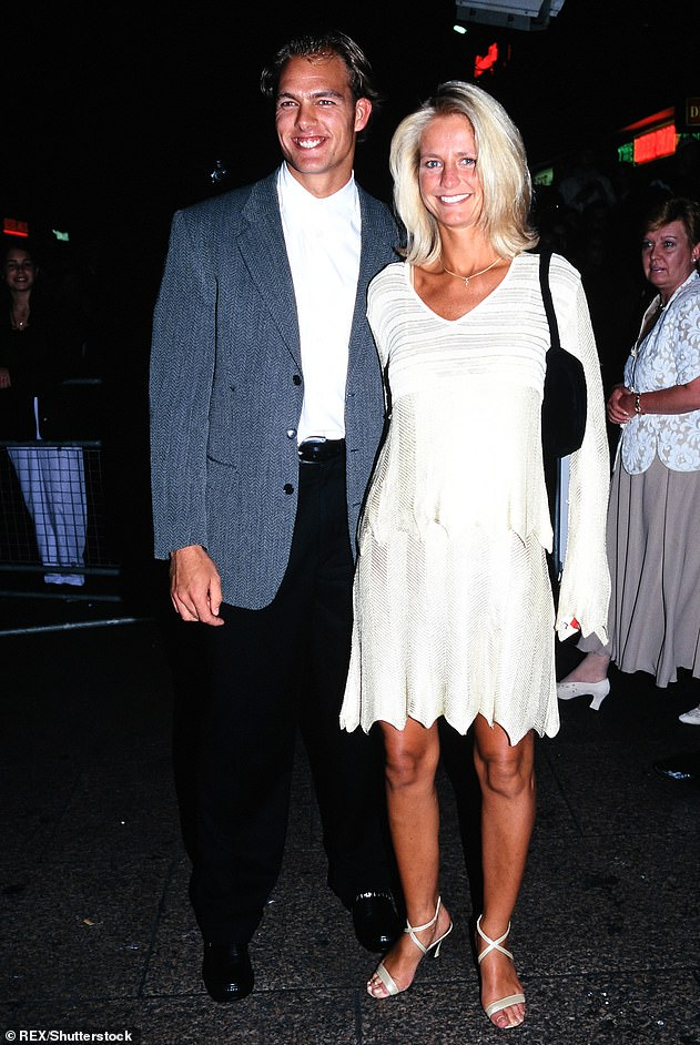 Flirty? The Swedish presenter enjoyed a brief, 'physical' romance with bodybuilder Crossley, who is six years her junior, while they both worked on the hugely popular Saturday night show Gladiators in 1996 (pictured in 1996)