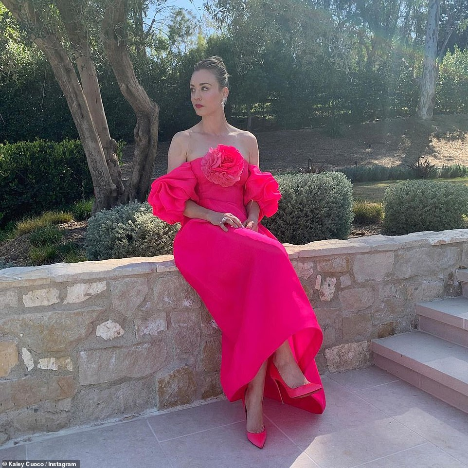 Gorgeous:Kaley shared a slew of snaps of her look to her Instagram account, where posed as if she were on the red carpet by her pool