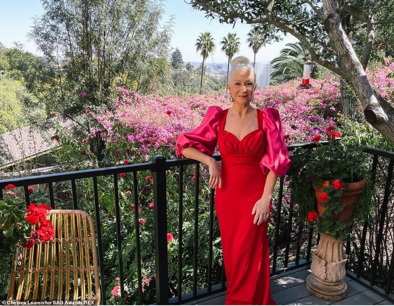 Incredible: Helen Mirren looked incredible in a red fitted gown, which featured puffy sleeves