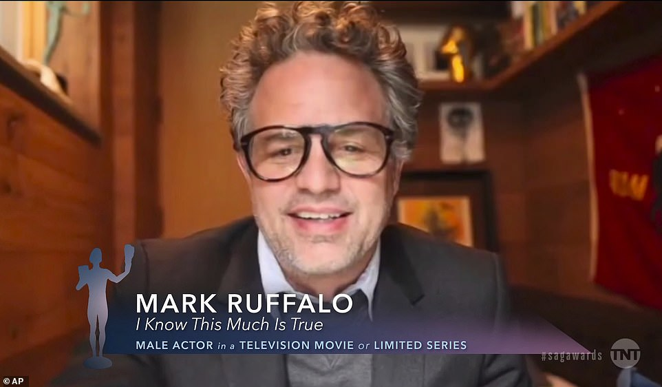 Star-studded:Ruffalo accepted the award virtually from home, beating out fellow nominees Bill Camp, Daveed Diggs, Hugh Grant, and Ethan Hawke