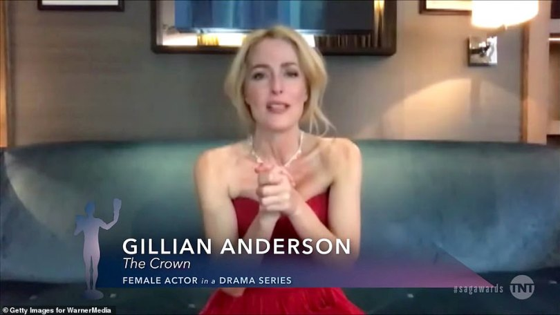 Honored:Gillian Anderson from The Crown won the award for Best Female Actor In A Drama Series