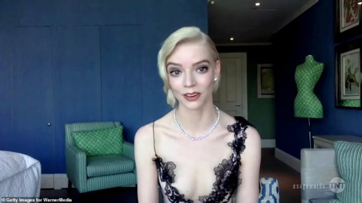 Goddess: The Queen's Gambit star Anya Taylor-Joy wore a lace lined gown with diamond jewelry