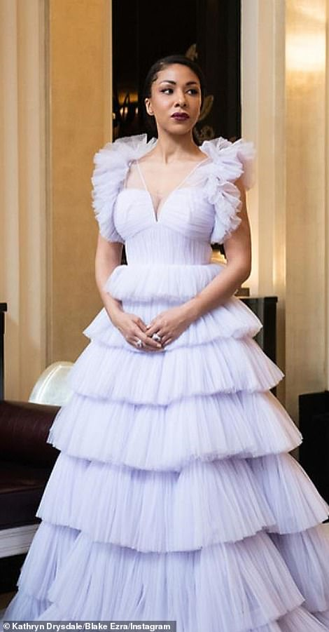 Lavender creation: Bridgerton beauty Kathryn Drysdale went a little over the top in tulle - it would have looked better without the shoulder ruffles