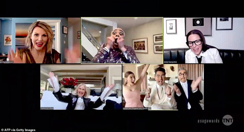 Big reaction! The cast of Schitt's Creek could be seen going wild when it was announced they had won