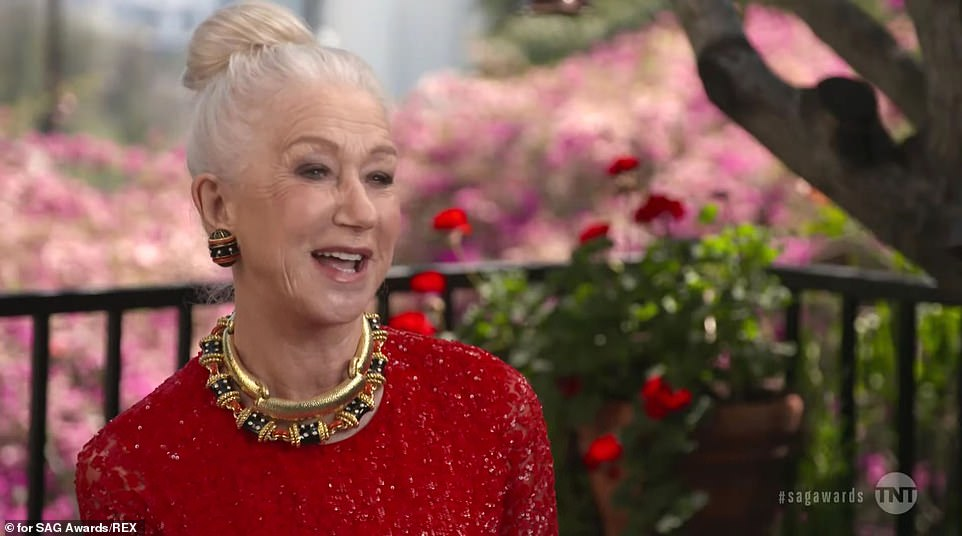 She's a dame: Helen Mirren flew the flag for Britain in a series of clips based on the SAG Awards 'I am an actor' segments that were included int he pre-taped one-hour awards show
