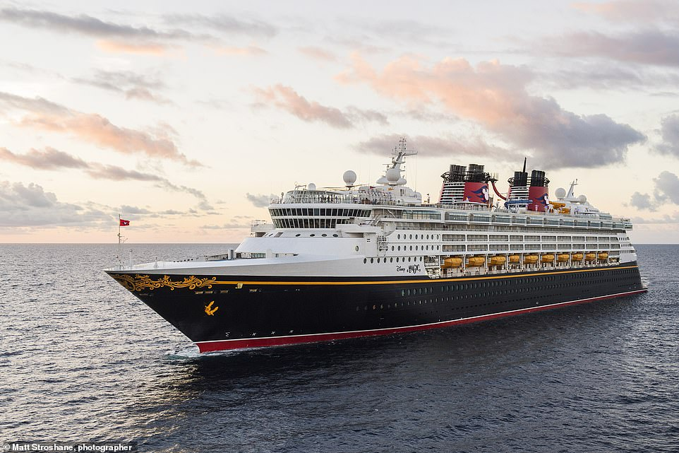 Enjoy family pools and waterslides - but also an adults-only pool and spa - on Disney Cruises' Disney Magic ship, pictured