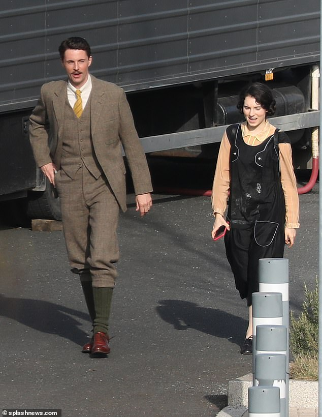 Ready to film: Co-stars Matthew Goode and Darci Shaw arrived to shoot scenes