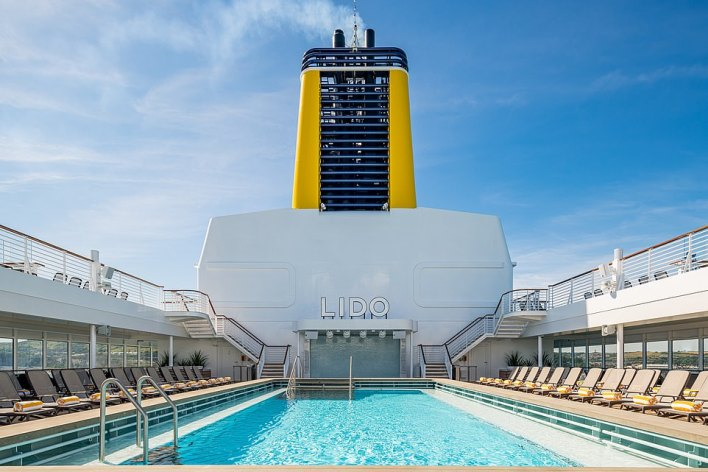 A 14-night Great British Adventure round trip on Saga's Spirit of Discovery sails from Tilbury on July 1. Pictured is the ship's pool deck