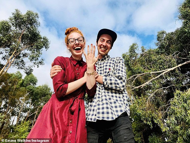 Happy news:The Wiggles star Emma Watkins (left) has announced her engagement to boyfriend Oliver Brian (right). The 31-year-old shared the happy news in an Instagram post on Monday night, posing alongside her Wiggles guitarist beau and flashing her diamond ring