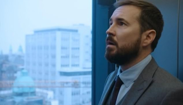 Lucky escape: Hurrying away to escape an impromptu department drug test, the character - played by Martin Compston - was seen looking tense as he backed into the corner of the elevator