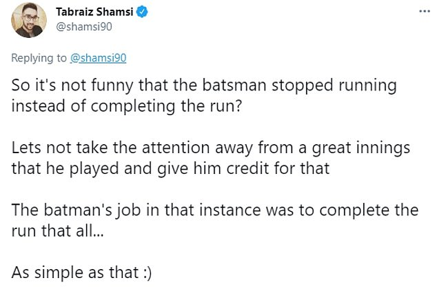He added that the focus should be on Fakhar Zaman's innings, not De Kock's actions