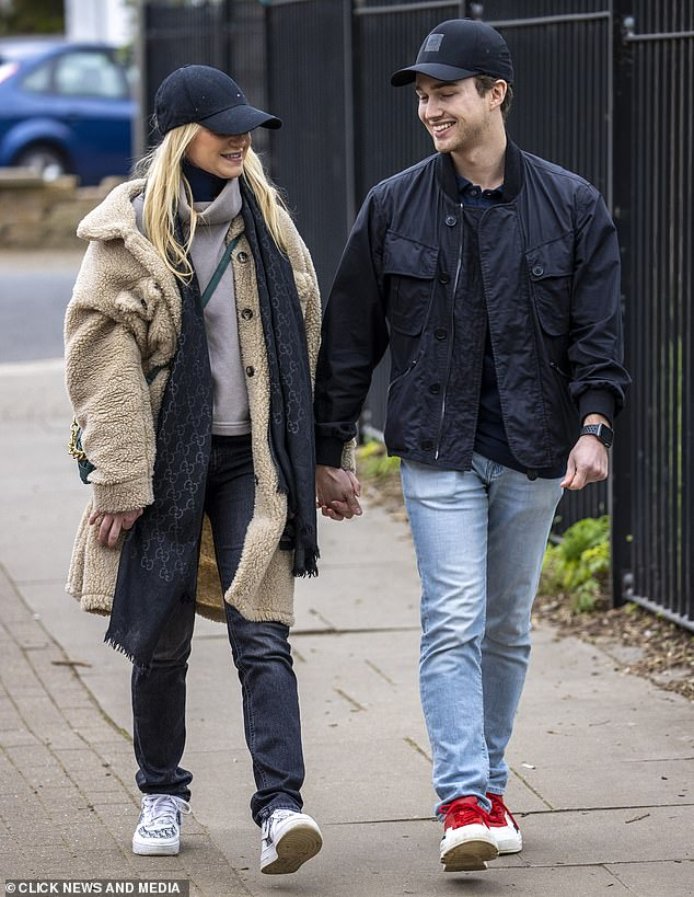Supportive:Abbie, who previously admitted she was 'terrified about seeing anyone' following her accident, bravely stepped out for the first time with AJ on Friday