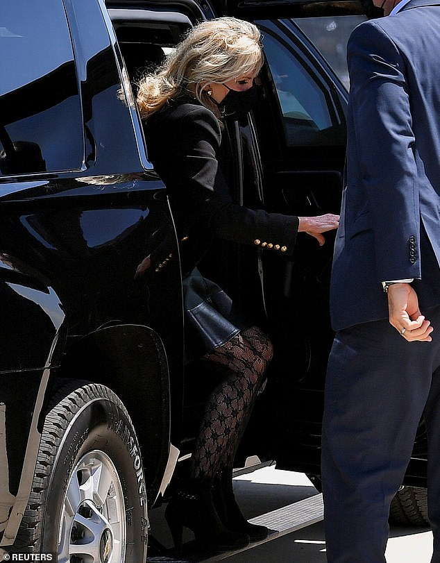 Debut: Jill was first pictured wearing the tights when she arrived at Meadows Field Airport in California earlier in the day