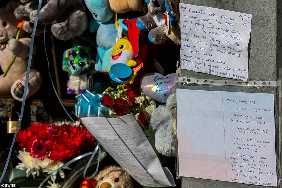 A note left by the parents of Ciaran Leigh Morris at the scene on High Street, Brownhills, Walsall after the tragedy