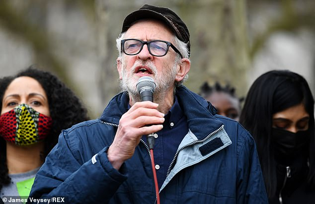 The former leader of the Labour Party addressed crowds gathered in Parliament Square as he described the Police, Crime, Sentencing and Courts Bill as a 'very dangerous, slippery slope'