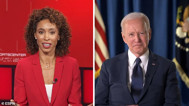 In an interview with ESPN's Sage Steele (left) last week, President Joe Biden (right) was asked about the All-Star Game potentially being moved from Georgia. 'I think today's professional athletes are acting incredibly responsibly. I would strongly support them doing that,' he said