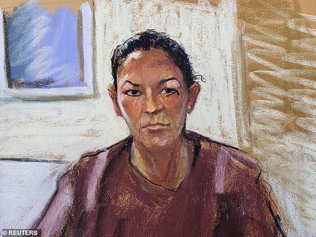 A court sketch of Ghislaine Maxwell after she appeared via video link during her arraignment last July where she was denied bail for her alleged role in aiding Jeffrey Epstein to recruit and eventually abuse of minor girls