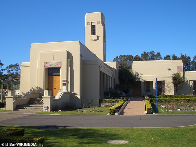 Mr Koletti, and Caddick's relatives gathered with a small group of friends to say their goodbyes at the West Chapel at the Eastern Suburbs Cemetery in Matraville (pictured) at 10am
