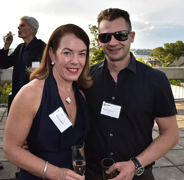 Sydney conwoman Melissa Caddick (pictured with her husband Anthony Koletti) was farewelled in a private service with a handful of mourners on Tuesday