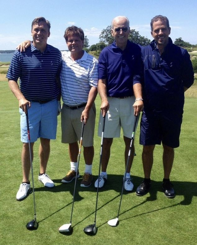 Joe Biden (second from right) and his son, Hunter (far right), golfing in the Hamptons with Devon Archer (far left), who served on the board of Burisma with Hunter. The photo from 2014 emerged during the presidential campaign
