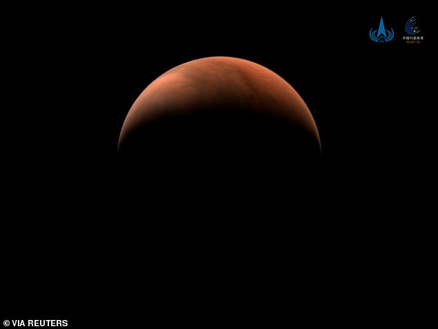 The crescent images were taken with a medium-resolution camera when the probe was 6,800 miles (11,000 km) from Mars, on the far side of the planet to the sun