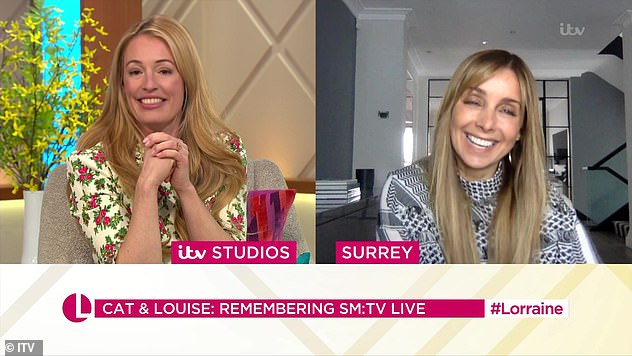 Laugh: Cat and Louise were in fits of laughter as they looked back over their days on the show