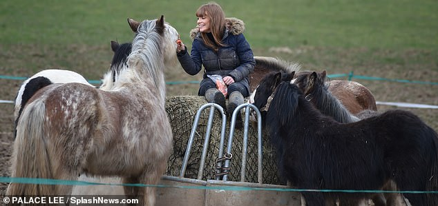 Chomping at the bit!She catered to her four-legged friends with the healthy treat
