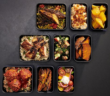 When it comes to the food offering, the airline has partnered with restaurant chain Dig to bring its 'signature build-your-own dining concept to tray tables at 35,000 feet'. Pictured are the dinner and lunch combinations