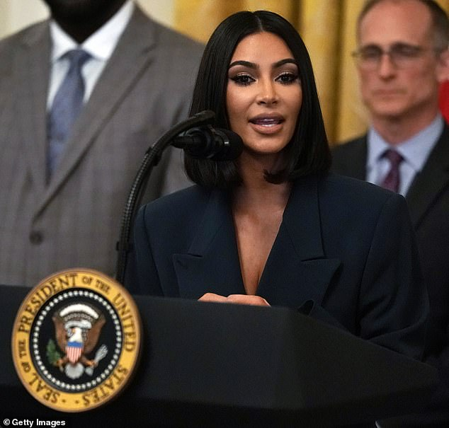 Kim now is studying to become a lawyer. She is pictured at the White House in June 2019. She has successfully lobbied to release at least one prisoner so far