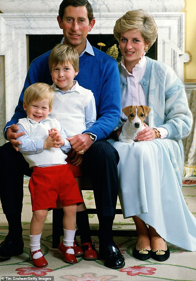 Prince Charles, Diana, William and Harry are pictured at home at Kensington Palace