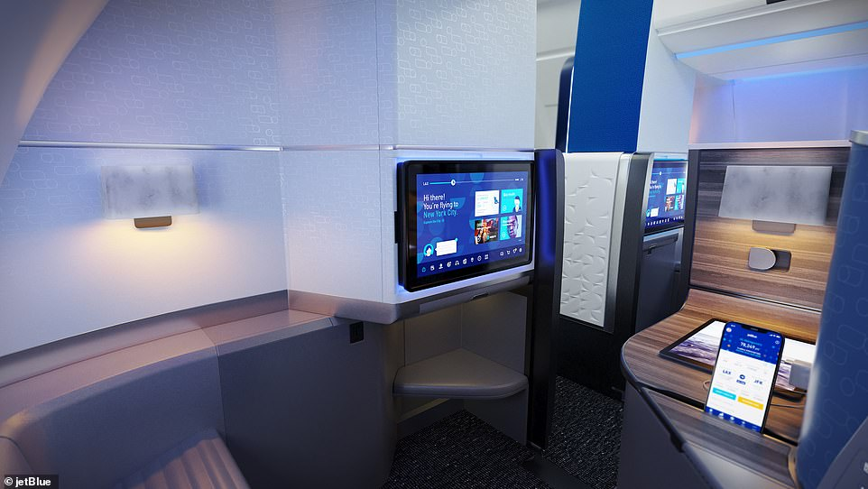 JetBlue, which is known for its low prices, has not released estimated costs for the new transatlantic flights.This image shows one of the suites in the aircraft that will be used for the transatlantic flights