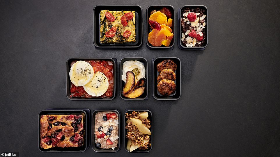 When it comes to the food offering, the airline has partnered with restaurant chain Dig to bring its 'signature build-your-own dining concept to tray tables at 35,000 feet'