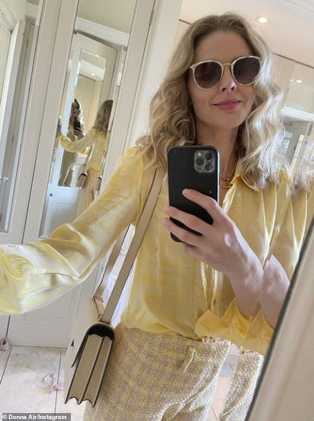 'I've gone up two jeans sizes': Donna Air revealed she has put on weight during lockdown 'for the first time' in her life by eating cheese and multiple takeaways a week (pictured, April 2021)