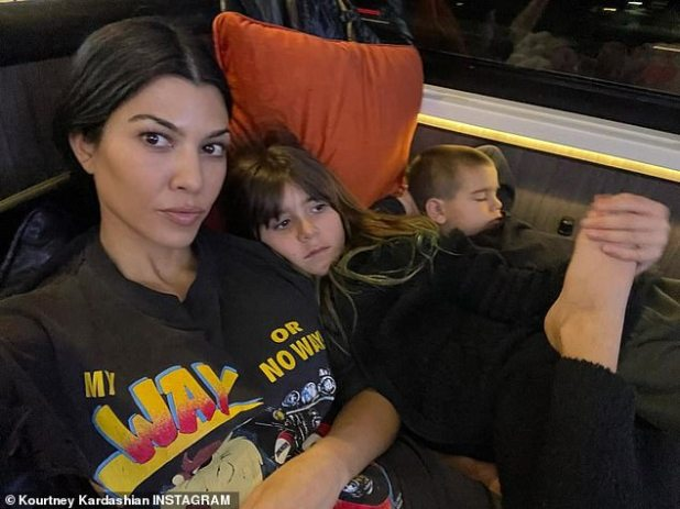On tour again: Kourtney Kardashian revealed on her Instagram page this Tuesday that she has decided to take her kids on a 'little road trip'