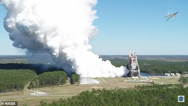 Orion will sit atop the NASA¿s Space Launch System (SLS) when it ventures out into space.SLS completed a full eight-minute hot fire test on March 18 (pictured) which is the final step needed to move ahead with the Artemis I November launch