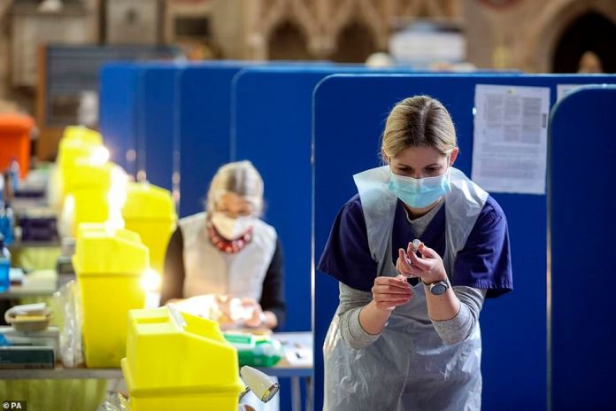 Coronavirus vaccines being prepared at Salisbury Cathedral, Wiltshire last month (pictured).Independent experts told MailOnline the data used by the Government's scientific advisers 'didn't match' how well the vaccine rollout is going and played down how effective the jabs are - and at least one was 'very confident the NHS is not going to be overwhelmed'