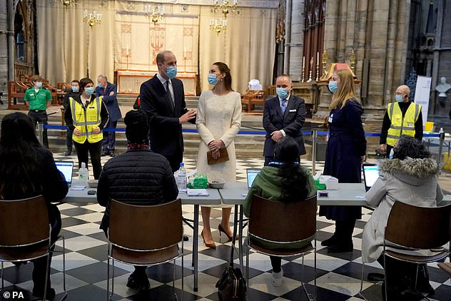 During the visit, Kate and William spoke with staff and paid tribute to the efforts of those involved in the deployment of the Covid-19 vaccine.