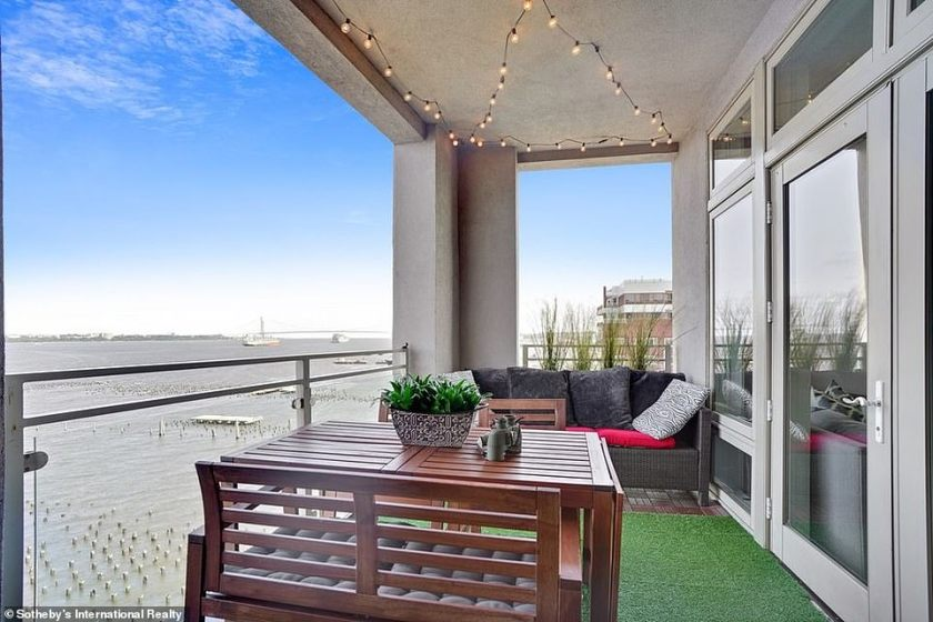 Wow factor: The private patio is pictured