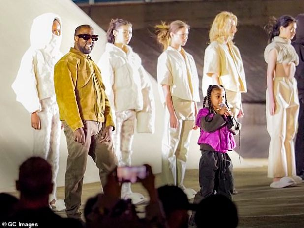 Last month, Bloomberg put 43-year-old Kanye's wealth at $ 6.6 billion, based primarily on his highly successful Yeezy brand and lucrative deals with Adidas and Gap (pictured March 2020 on stage at Paris Fashion Week with her daughter North West).