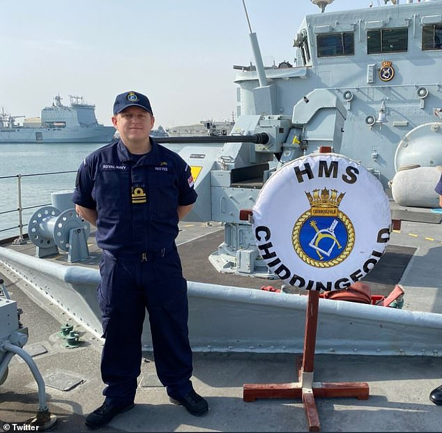 Lieutenant Commander Simon Reeves, pictured, was commanding Chiddingfold when it struck HMS Penzance